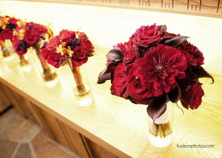 Velvety Rich Bouquets for November 9 Wedding. hudsonphotos.com