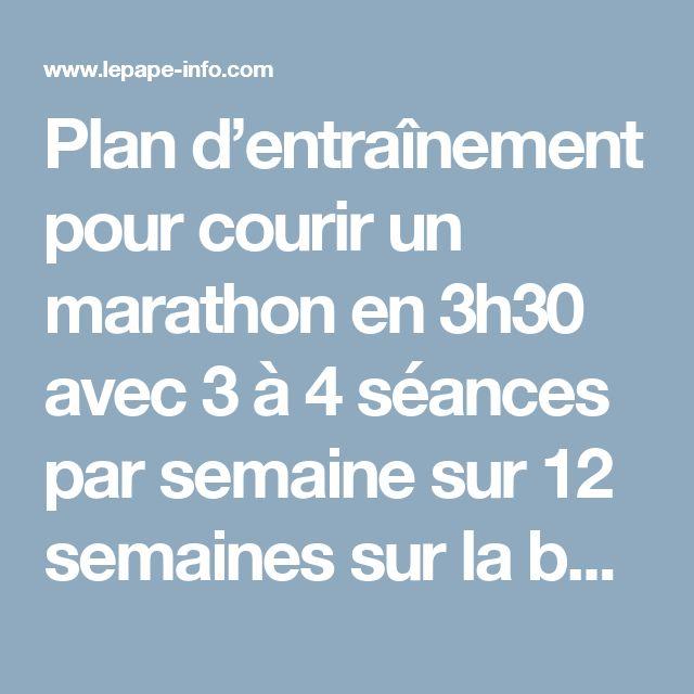 Plan d'entraînement pour courir un marathon en 3h30 avec 3 à 4 séances par semaine sur 12 semaines sur la base d'une VMA à 15km/h | Lepape-Info.com