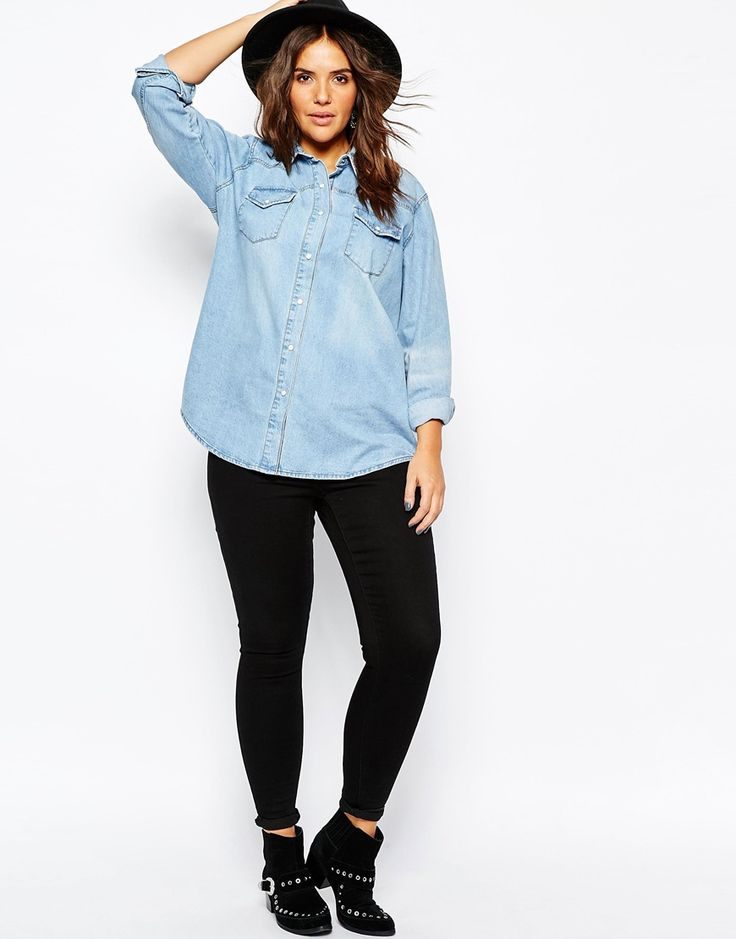 Image 4 of ASOS CURVE Denim Boyfriend Shirt in Light Blue Wash
