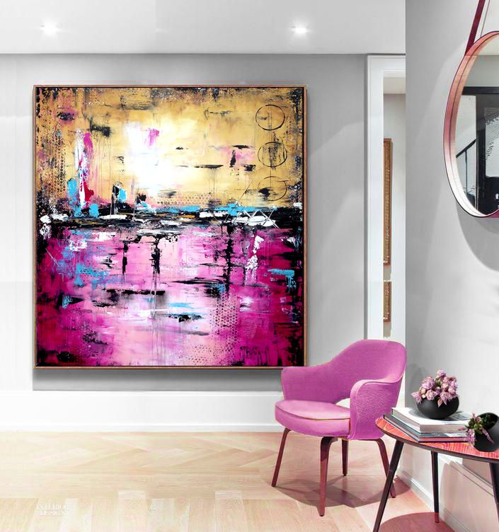 Large Abstract Purple art, Handmade Abstract Painting Modern Art ...
