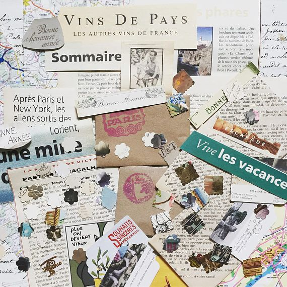 Vintage Ephemera Pack - French words 40  pieces