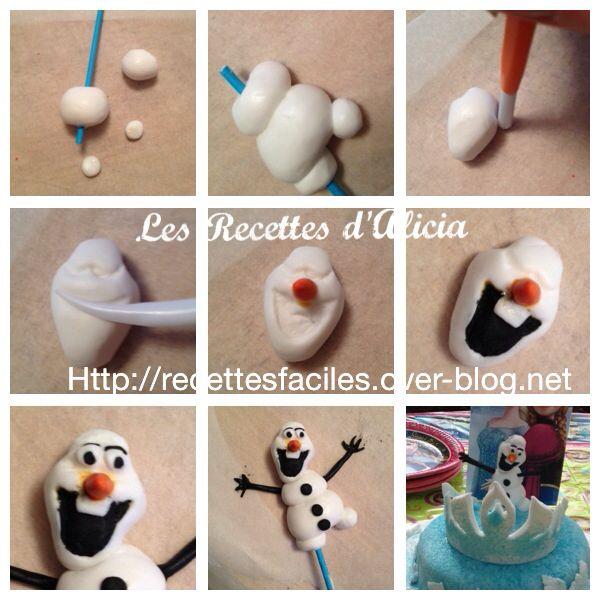 Tuto Olaf en pâte a sucre ( La Reine des Neiges )
