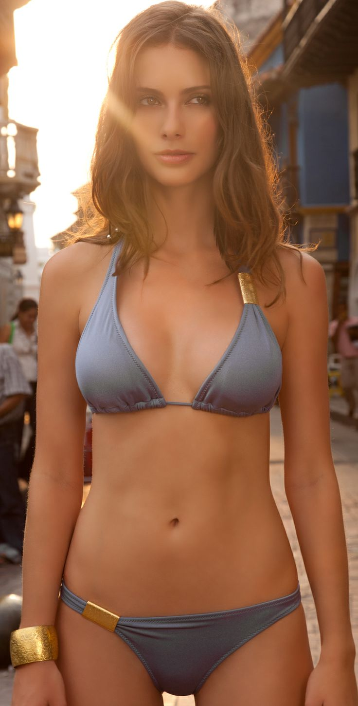 The Sav Swimwear 2013 Slate Blue halter bikini top ties at ...