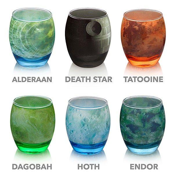 스타워즈 행성으로 만든 유리잔