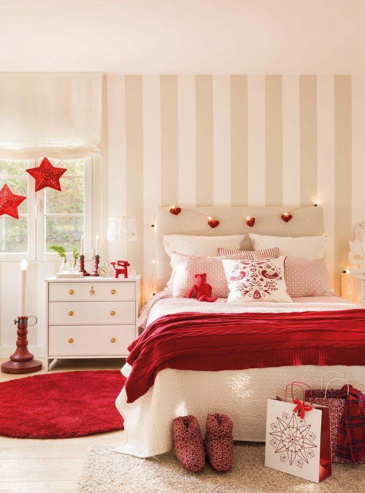 dormitorio de niñas con colores navideños