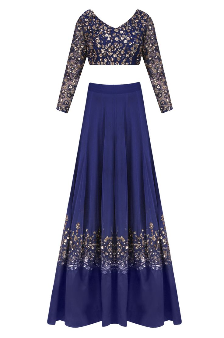Blue and gold sequins floral embroidered lehenga set available only at Pernia's…
