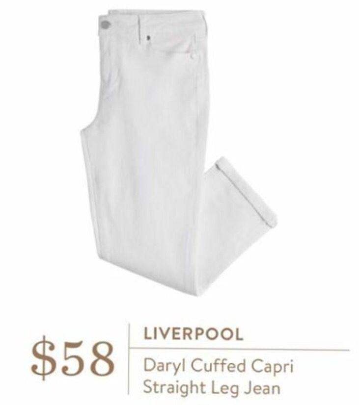 Liverpool Daryl Cuffed Capri Straight Leg Jean: I need a white Capri or Pair of white jeans in fix for June trip.