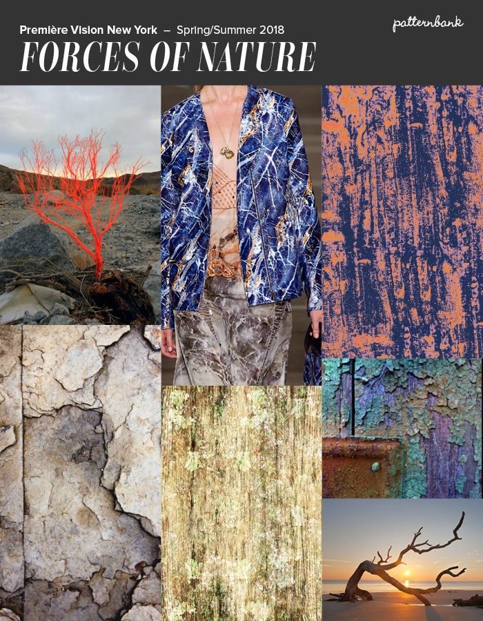 Première Vision New York - S/S 2018 - Distressed Textures / Bark / Crackled Surfaces / Soil Erosion / Subdued Spices / Muted Earthtones / Rustic Fibers / Unrefined