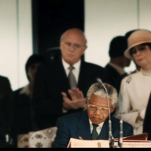 Nelson Mandela signing the Presidents Bible - Nelson Mandela Centre of Memory