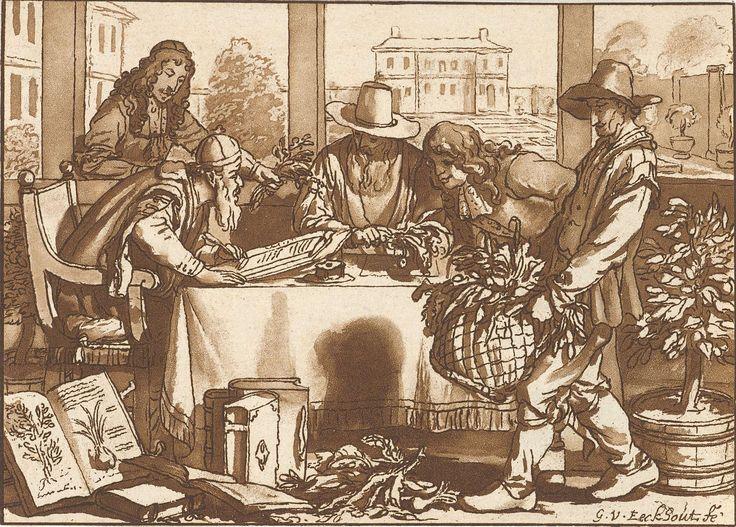Cornelis Ploos van Amstel | Botanicus, Cornelis Ploos van Amstel, Cornelis Brouwer, 1780 - 1787 | Enkele mannen bestuderen planten aan een tafel. De oude zittende man schrijft in een boek. Rechts draagt een man een mand met planten. Door de ramen zicht op een tuin en een landhuis.