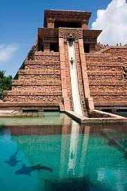 Atlantis Hotel, Nassau, Bahamas  Fun water slide that shoots through a shark tank!