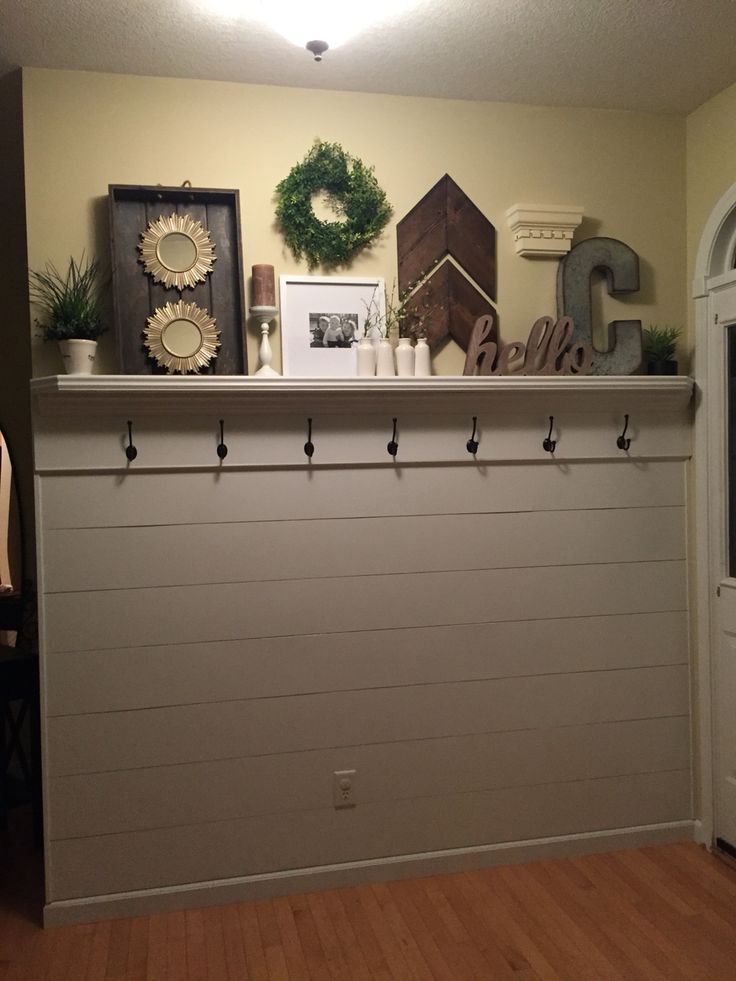 Shiplap entryway with shelf and hooks