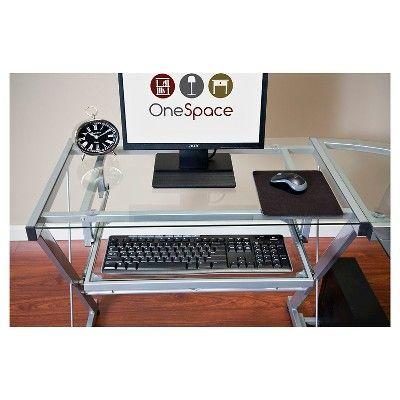 OneSpace 50-JN110400 Ultramodern Glass L-Shape Desk, Silver and Clear, Light Silver