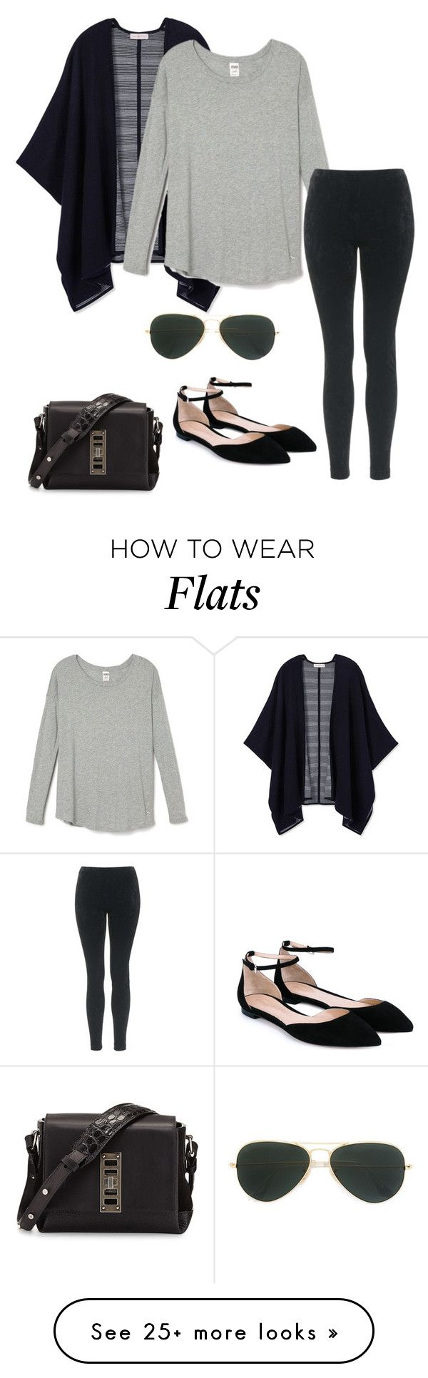 """""""black and gray"""" by penguin-alert on Polyvore featuring Tory Burch, Topshop, Ray-Ban, Proenza Schouler and Gianvito Rossi"""
