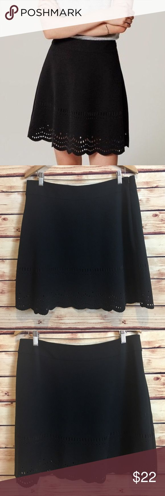 Ann Taylor LOFT Black Laser Cut Circle Skirt Ann Taylor LOFT black circle skirt. Laser cut detailing around hem. Scalloped hem. Size 12. Excellent preowned condition with no flaws. LOFT Skirts Circle & Skater