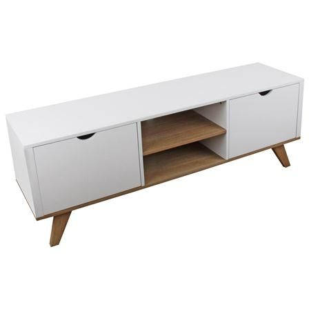 Wooden TV Cabinet in White and Natural