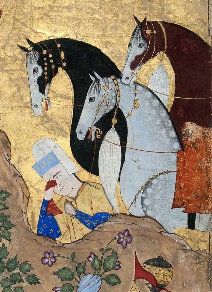 artdetails:  Aqa Mirak, Iskandar réconfortant Dârâ pendant que ses deux meurtriers sont pendus (detail), from aFalnama (Book of Omens), c.1550s