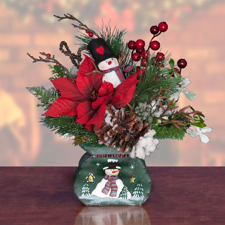 Poinsettia, Snowman Christmas Arrangement (CA507) - Christmas Arrangement