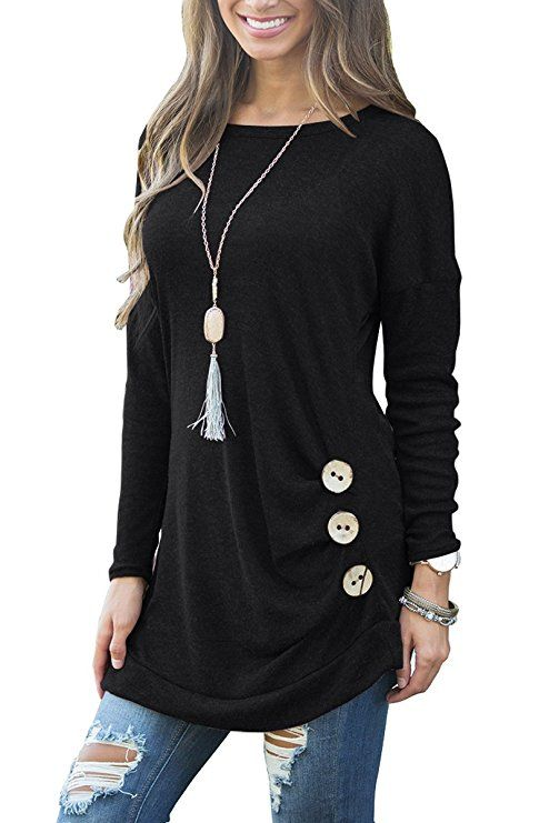 9592d8e0389 Muhadrs Womens Long Sleeve Casual Round Neck Loose Tunic Top Blouse T-Shirt  Black S ad