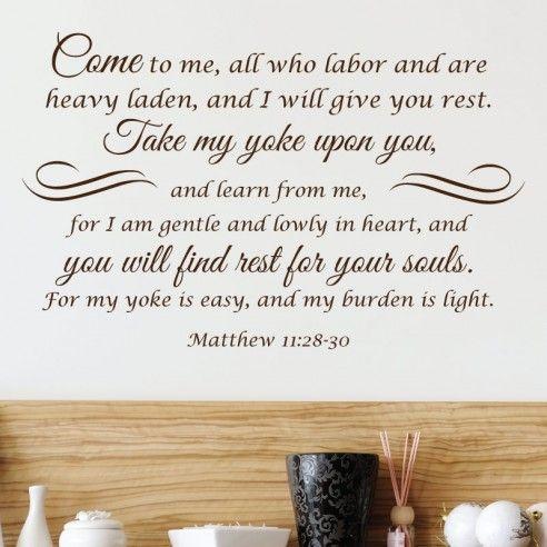 Matthew 1128 30 Christian Wall Decal Divine Walls