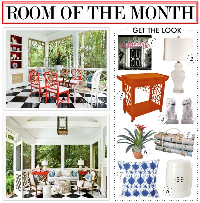 zChic hot Chippendale chairs, black & white flooring..: Dining Room, Screened Porch, White Garden, Sun Room, Sunroom