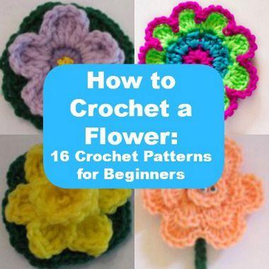 How to Crochet a Flower: 16 Crochet Patterns for Beginners   FaveCrafts.com ✿⊱╮Teresa Restegui http://www.pinterest.com/teretegui/✿⊱╮