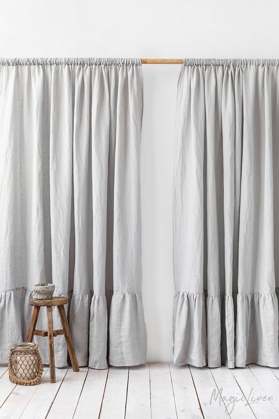 Rod Pocket Linen Curtain Panel With Ruffles Washed Linen Etsy