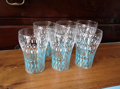 フランスヴィンテージ グラス /ブルー&ホワイト/レモネード D7