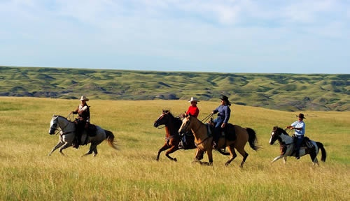 Horseback riding in southern Saskatchewan