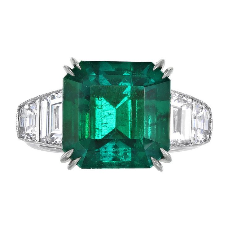 7.28 Carat Gem Colombian Emerald Diamond Ring | From a unique collection of vintage cocktail rings at http://www.1stdibs.com/jewelry/rings/cocktail-rings/