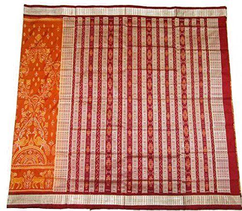 Beautiful Orange Sambalpuri Silk Saree with Blouse Piece: Amazon.in: Clothing & Accessories