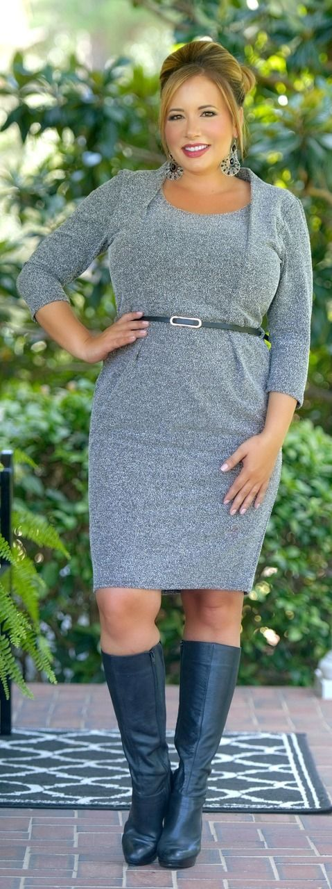 Mind Your Business Dress - Grey Mix - Perfectly Priscilla Boutique