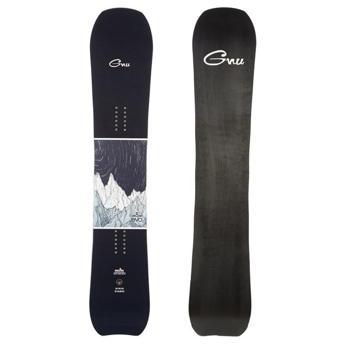 """Simply a dream for riders seeking ultra-buttery flow and poster-worthy methods, calling it the """"hypercarve"""" simply wasn't enough. Thus, we present to you the GNU x evo Hyperkyarve Snowboard, because kyarving is the future. Featuring custom art from evo's own Ryan Toth."""