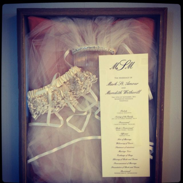 Veil, garter, and ceremony program in a shadow box. So sweet and what a good way to not have those things shoved in a box somewhere.