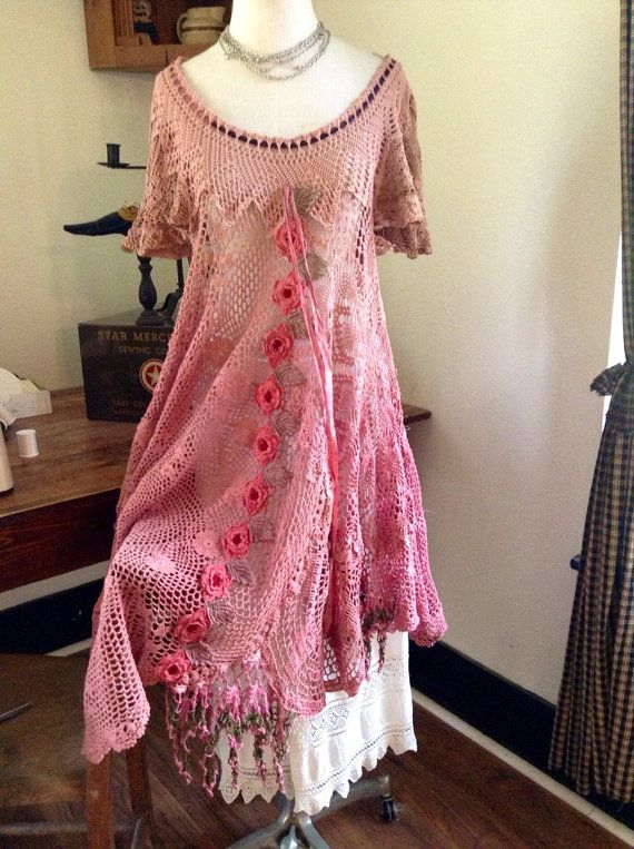 Luv Lucy Crochet Dress Lucy's Tea Rose Blossom by LuvLucyArtToWear, $240.00