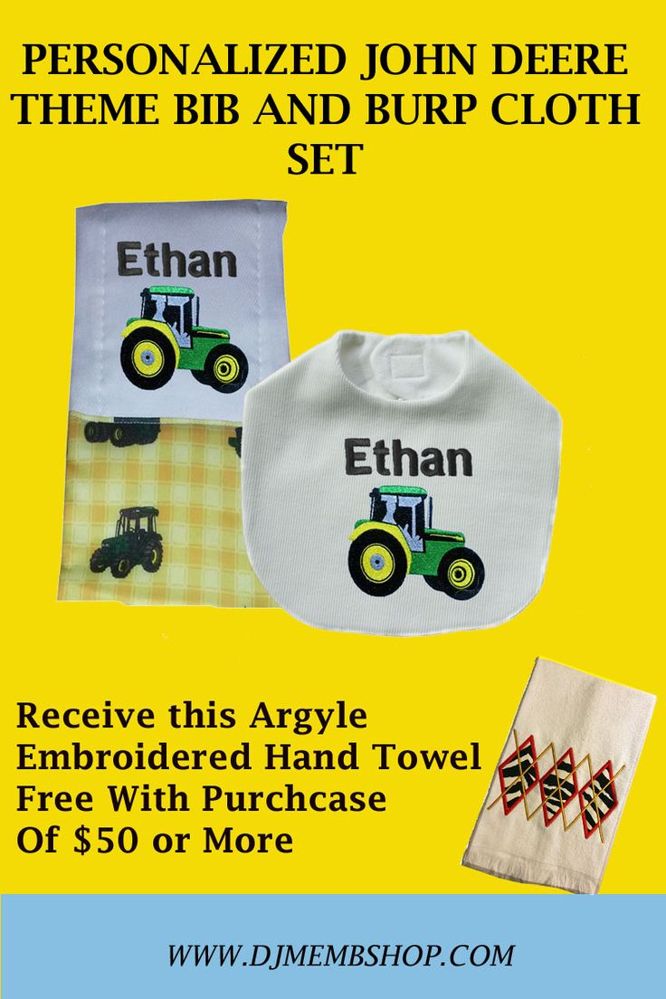 PERSONALIZED JOHN DEERE THEME BIB AND BURP CLOTH SET