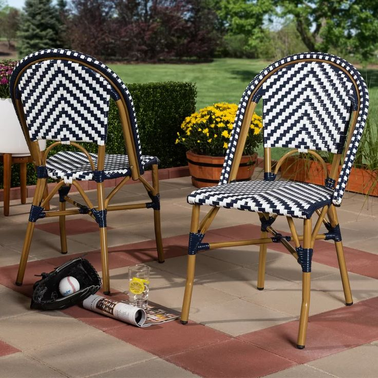 Alaina Classic French Stacking Patio Dining Chair Patio