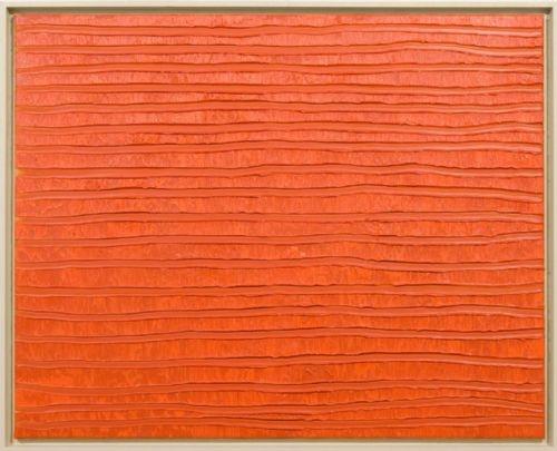 Hollands Landschap x 170 rood veld - Erik Oldenhof - Oranjerood schilderij. Prachtig monochroom.