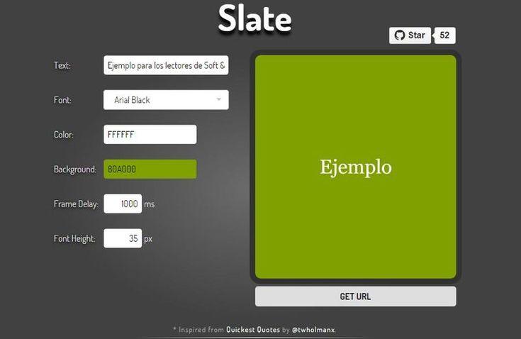 Slate es una utilidad web, gratuita y sin registro, con la que podemos crear fácilmente animaciones de texto en formato GIF.