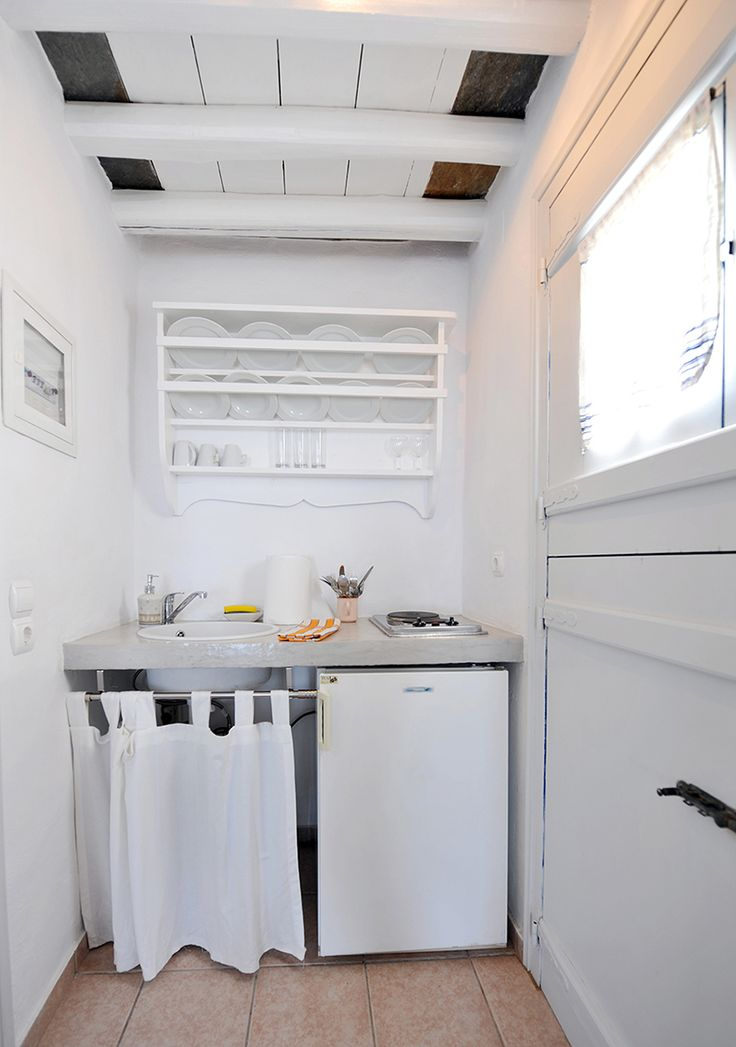 Room 1 #windmillbellavista #sifnos #cycladed #greece #kitchen  -- Bright and white and with a touch of tradition --