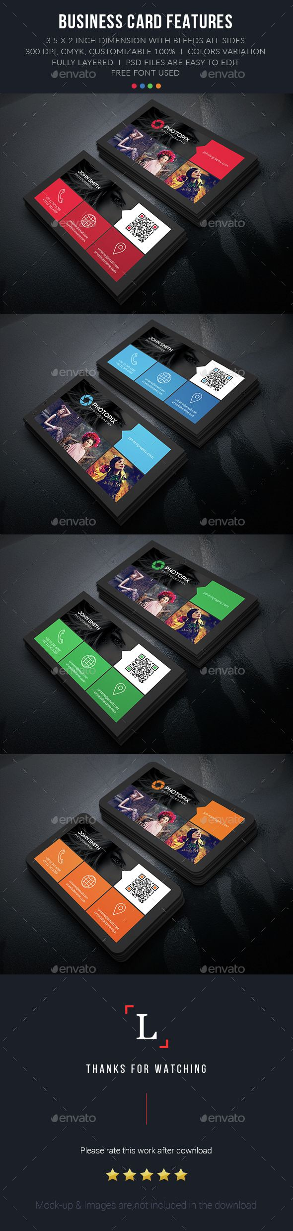 Color Photography Business Card — Photoshop PSD #black #green • Available here → https://graphicriver.net/item/color-photography-business-card/15217082?ref=pxcr