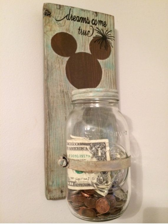 Disney savings jar mason jar reclaimed wood by MtnMetalWorks