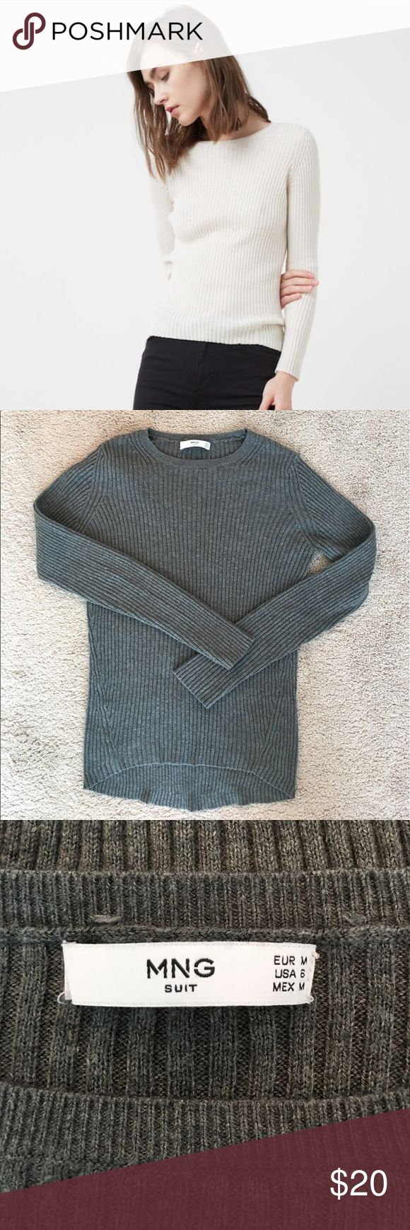 Mango Ribbed Sweater Practically new cotton blend sweater that is ribbed in detail. Snug fit and is true to size. A staple piece for any closet! Medium gray in color. Also sold out online. Mango Tops