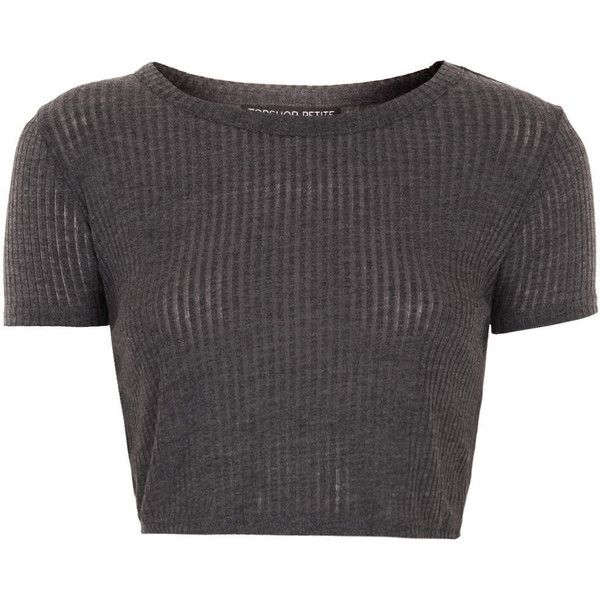 TOPSHOP Petite Skinny Rib Crop Tee ($12) ❤ liked on Polyvore featuring tops, t-shirts, shirts, crop tops, grey, petite, short sleeve shirts, grey crop top, crop top and grey shirt