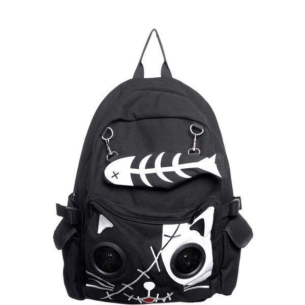 Banned Cat Fish Bone Speaker Backpack ($38) ❤ liked on Polyvore featuring bags, backpacks, accessories, black, knapsack bag, cat bag, backpack bags, rucksack bag and cat backpack