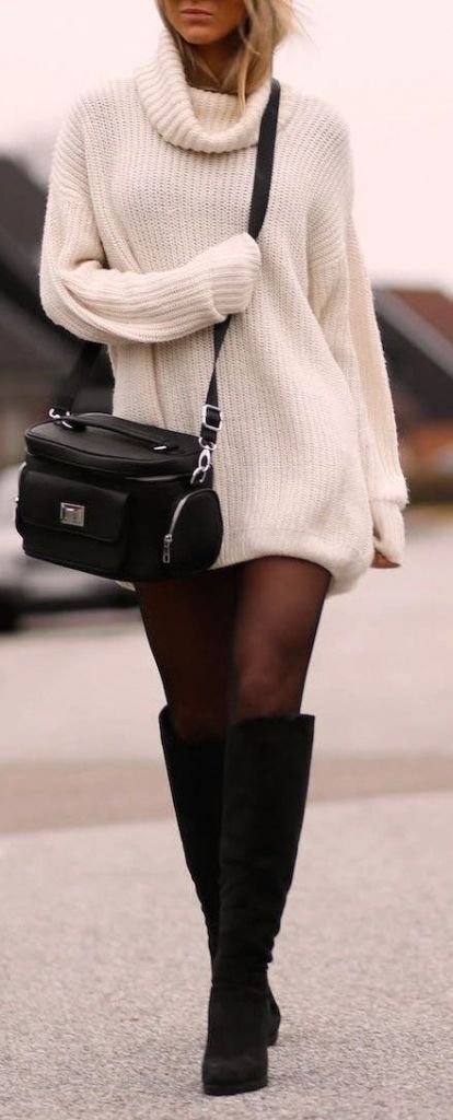 white and black outfit : sweater + bag + over the knee boots