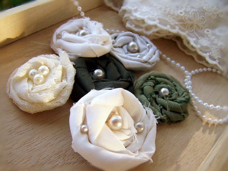 Assorted Fabric Rosettes -Set of 6 -Wedding Decorations -Wedding Invitations -DIY Accessories -Guest Books -Napkin Rings