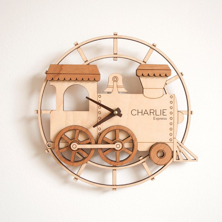 Kids Wooden Train Clock Personalized Nursery Train Decor by graphicspaceswood on Etsy https://www.etsy.com/listing/171529747/kids-wooden-train-clock-personalized