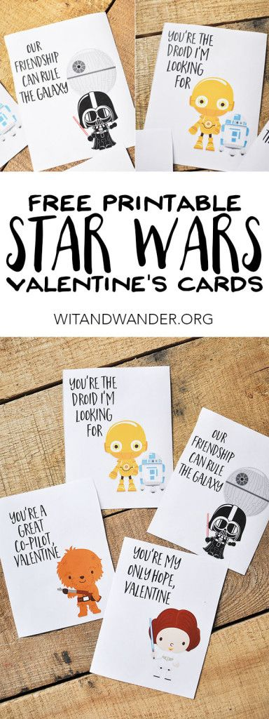 FREE Printable Star Wars Valentines Day Cards for Kids with Chewbacca, Darth Vader, Princess Leia, C3PO, and R2D2. The force is strong with these Valentines! | Wit & Wander