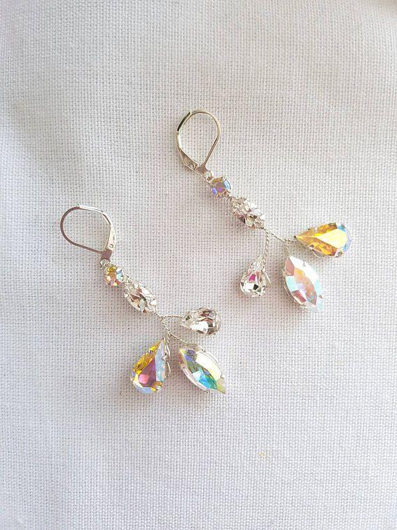 Crystal silver drop earrings Dangle diamond